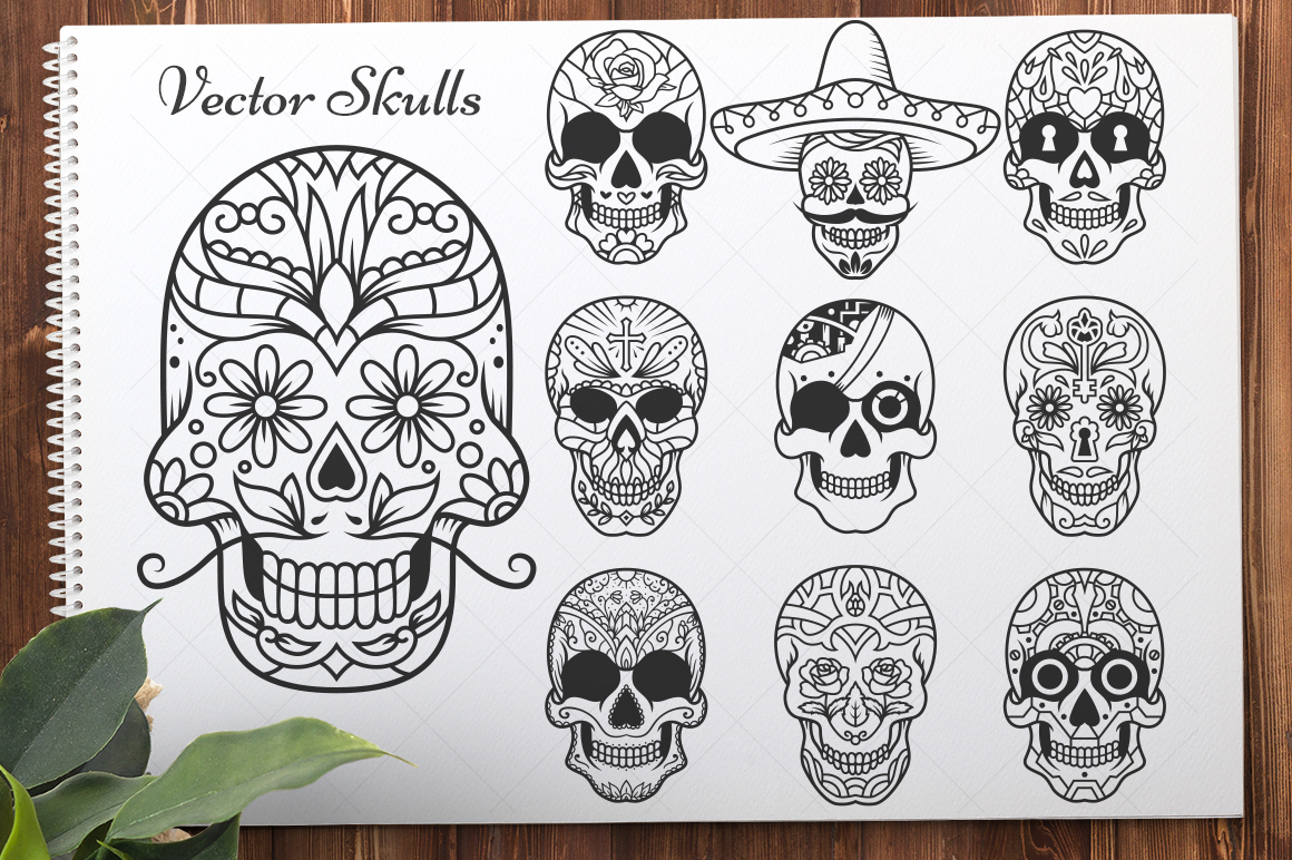 50 Vector Sugar Skulls example image 3