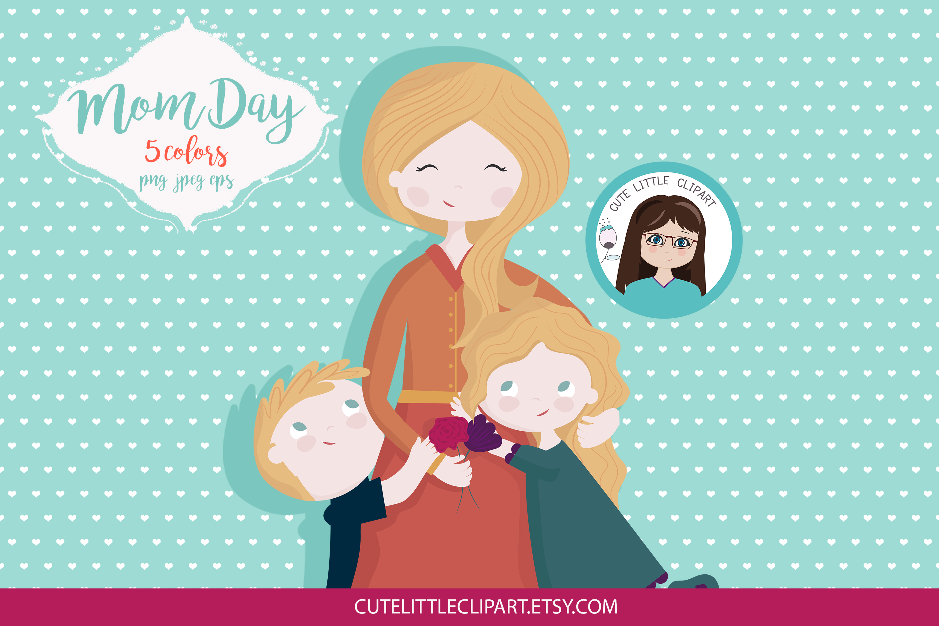 Mom and children clipart example image 4
