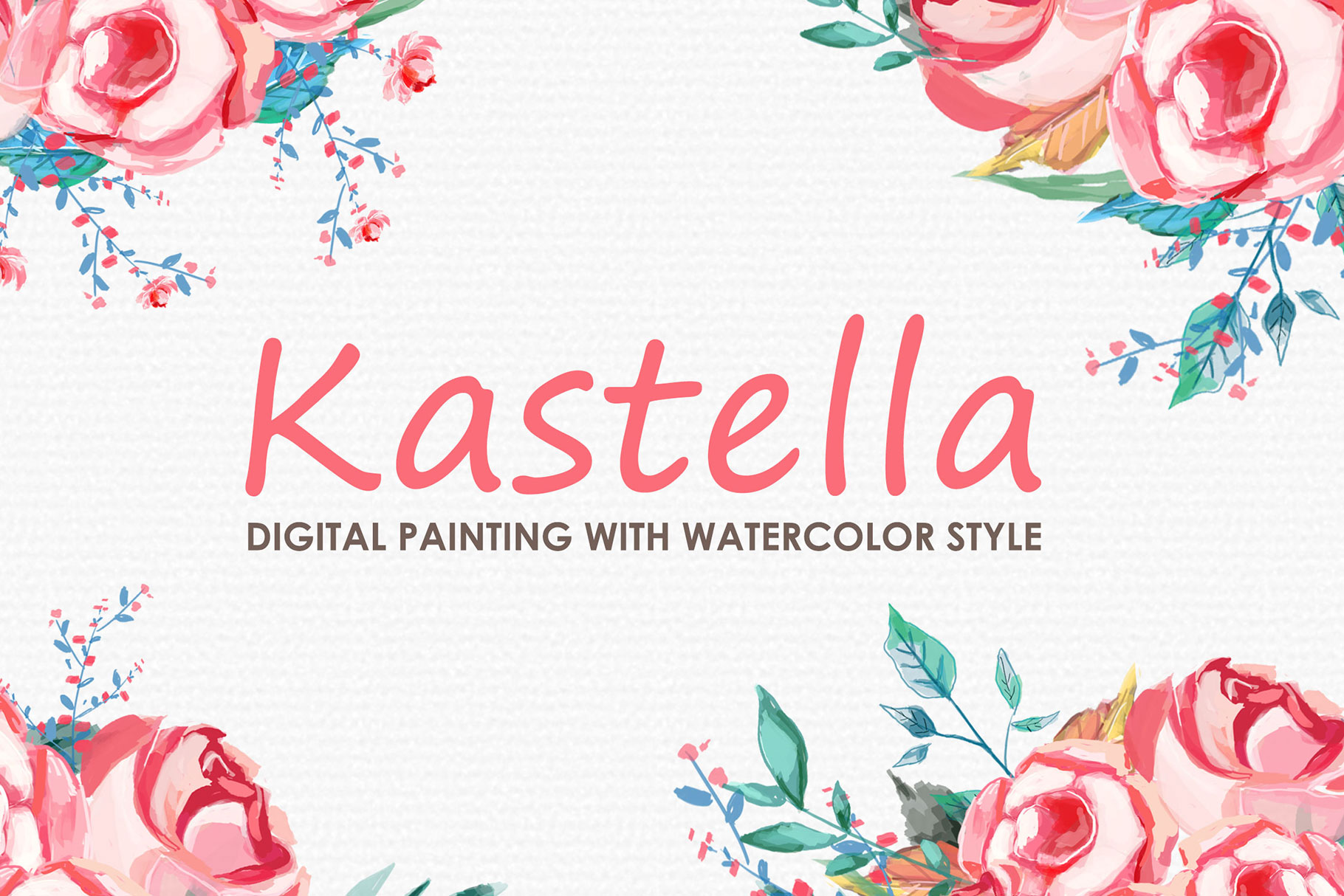 Kastella - Digital Watercolor Floral Flower Style Clipart example image 1