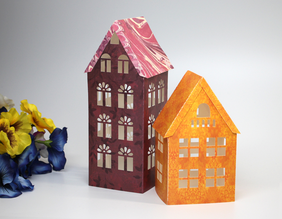 Easy Paper Houses - Free Printable Pattern - Paper Glitter Glue | 700x900