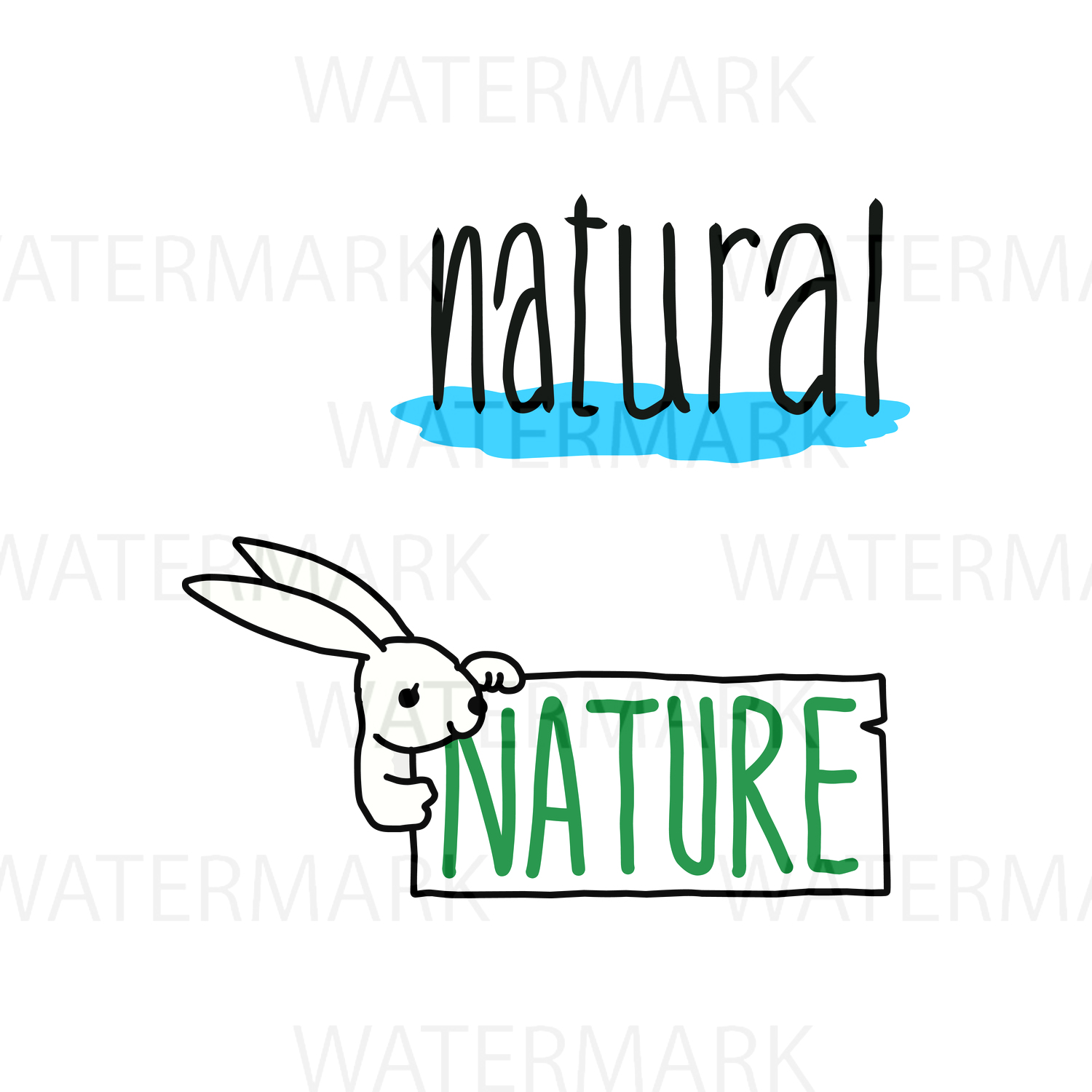 Nature and Nature with Bunny - SVG/JPG/PNG - Hand Drawing example image 1