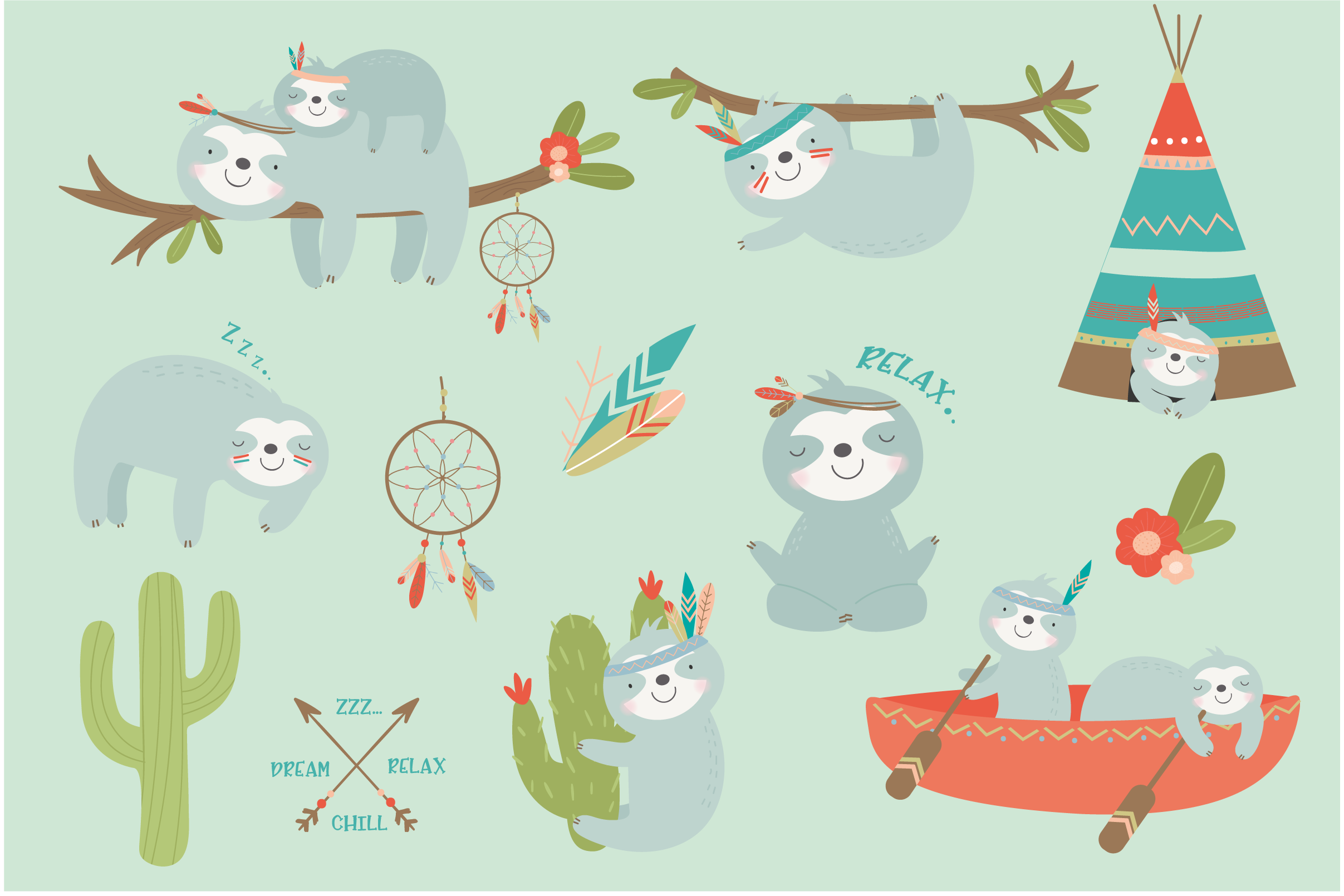 SLoth TRibe clipart and paper set example image 2