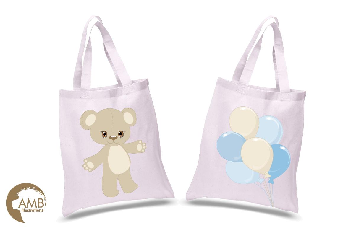 Teddy bear, nursery, baby boy, baby blue bear, clipart, graphics, llustrations AMB-1460 example image 2