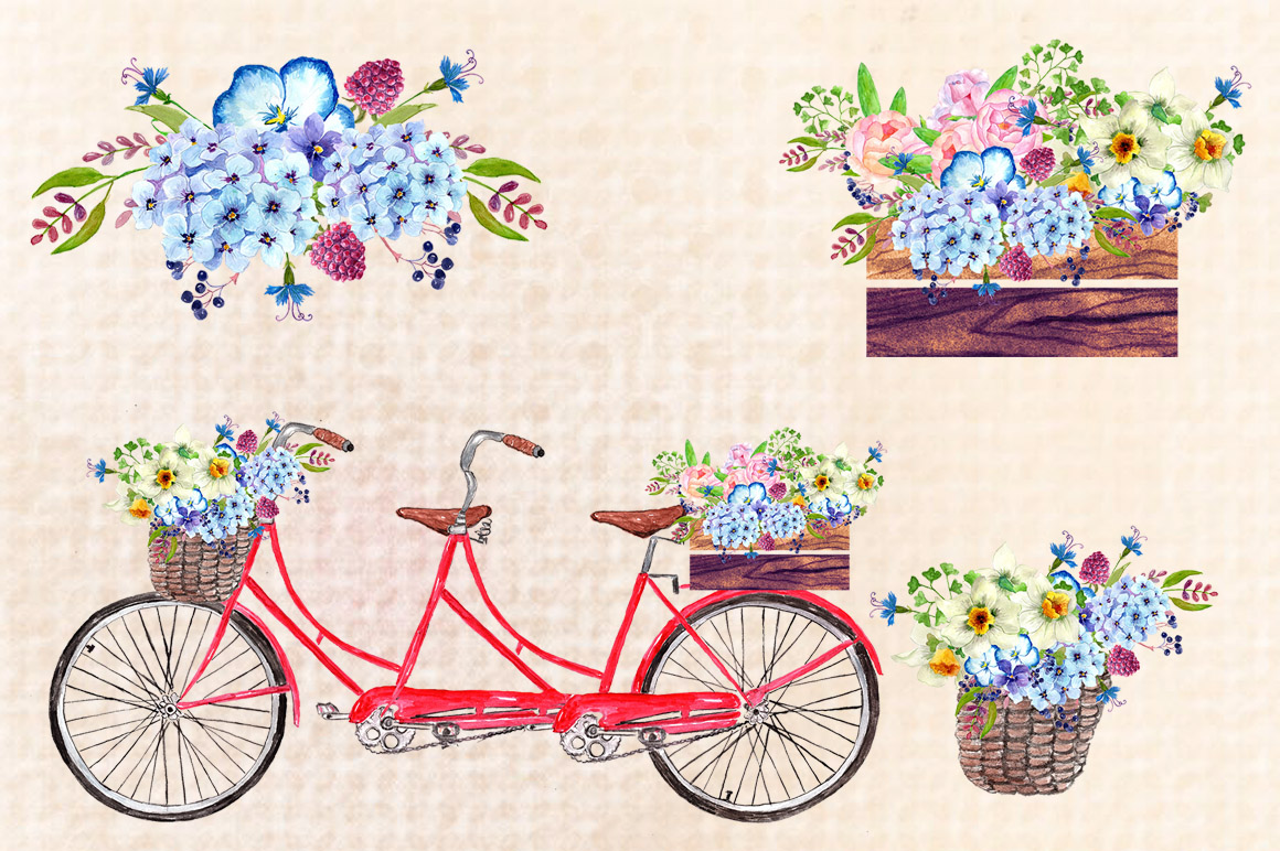 Watercolor bouquets clipart example image 2