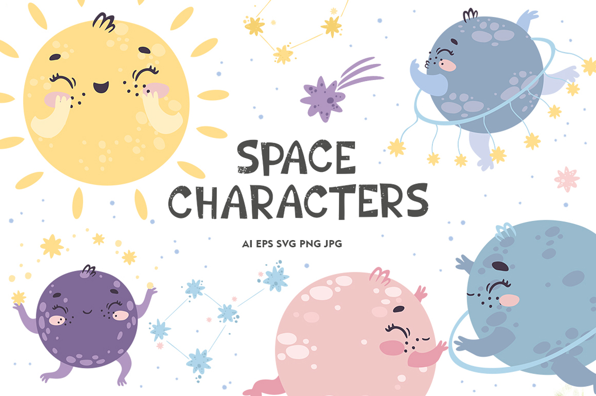 Space characters. Alphabet. For Kids example image 1