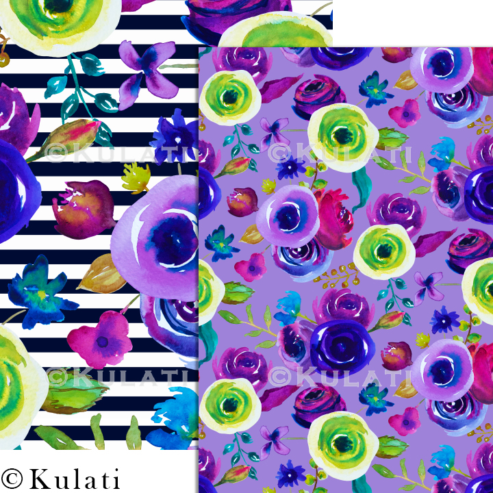 Watercolor Floral Seamless Patterns example image 4