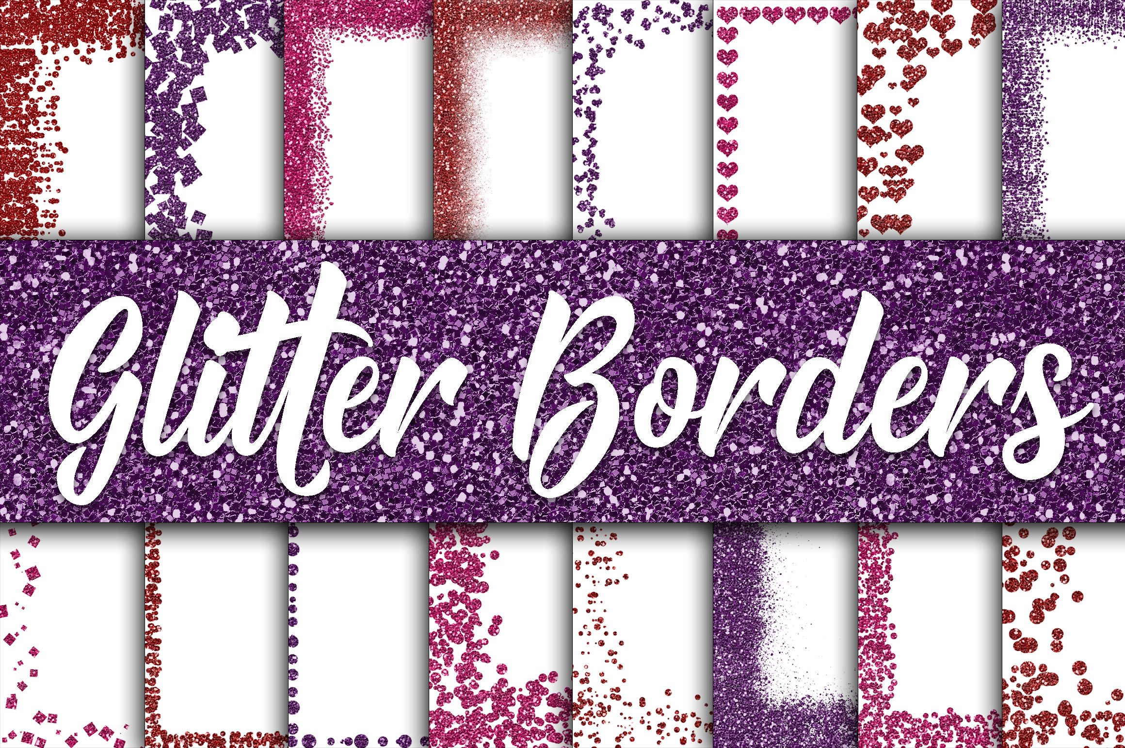 Valentine Glitter Borders Digital Paper - Includes 2 Sizes example image 1