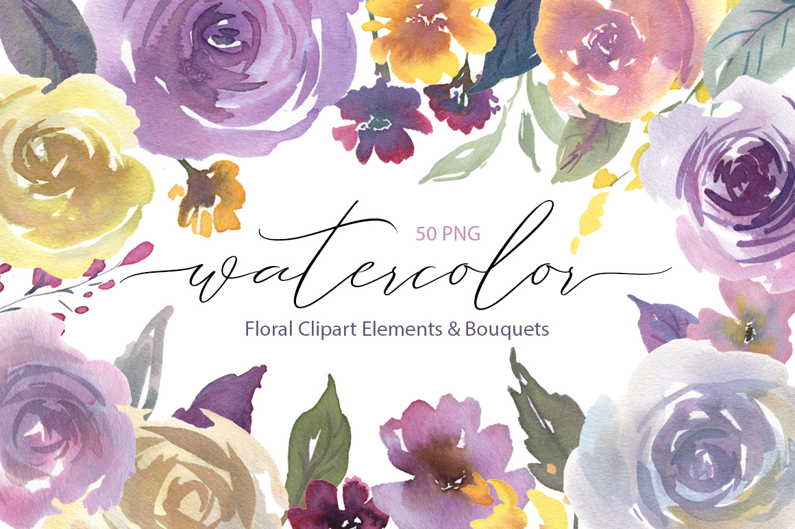 Watercolor Light Violet Flowers and Bouquets PNG example image 1