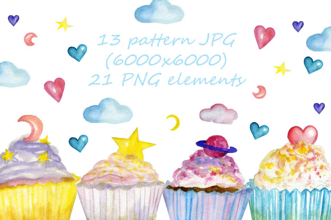 watercolor sweet cakes example image 1