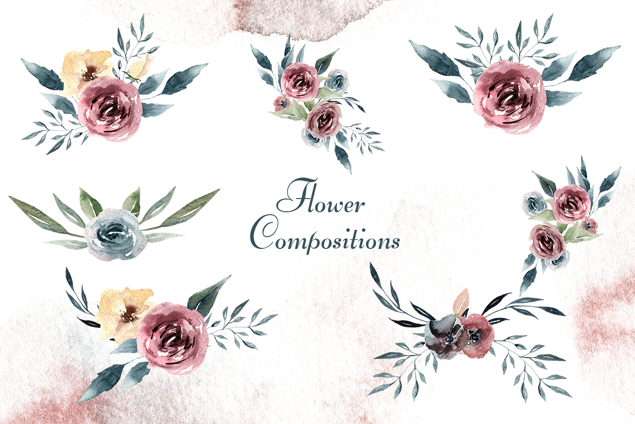 Watercolor Horse and flowers Flowers compositions Burgundy example image 3