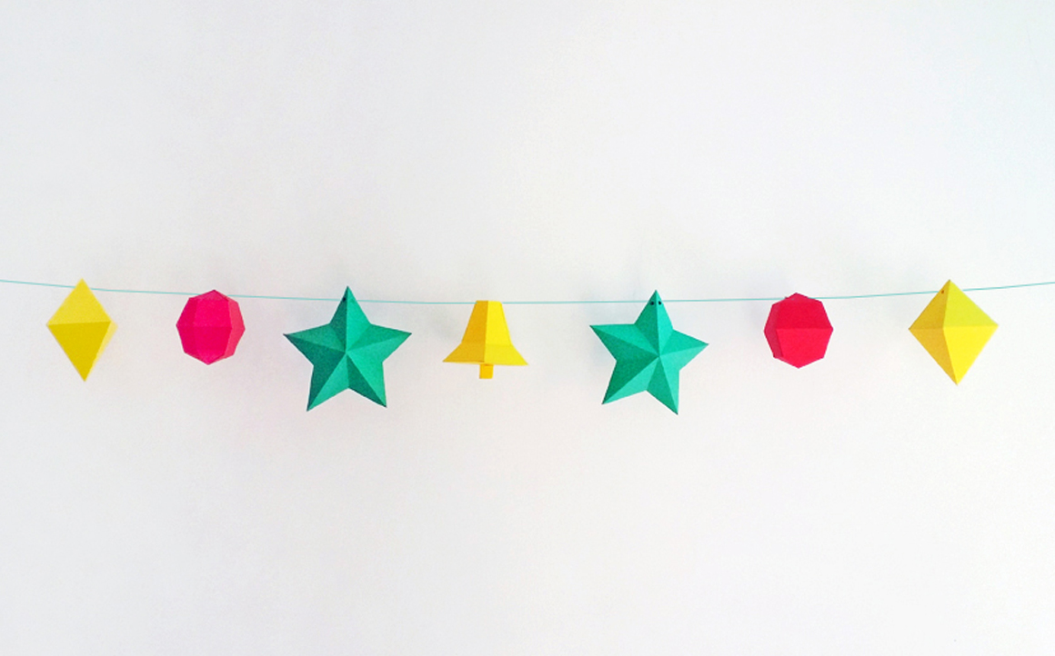 DIY Christmas Bunting/Flags - 3d papercraft example image 6