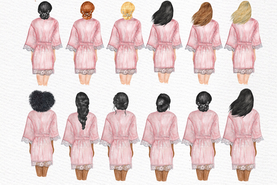 Bridesmaid Wedding Robes clipart, Bridal shower clipart example image 8