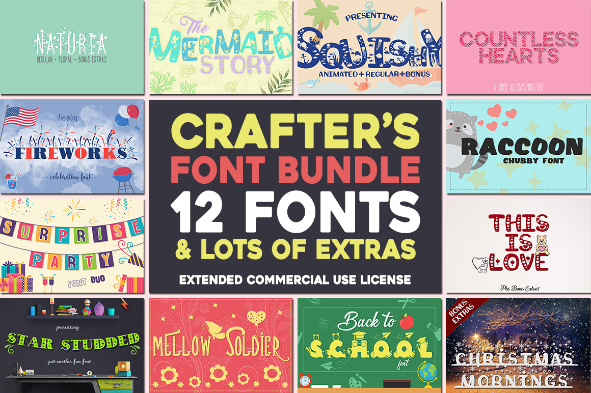 The Crafter's Font Bundle - 12 Font Families & Bonus Extras example image 1
