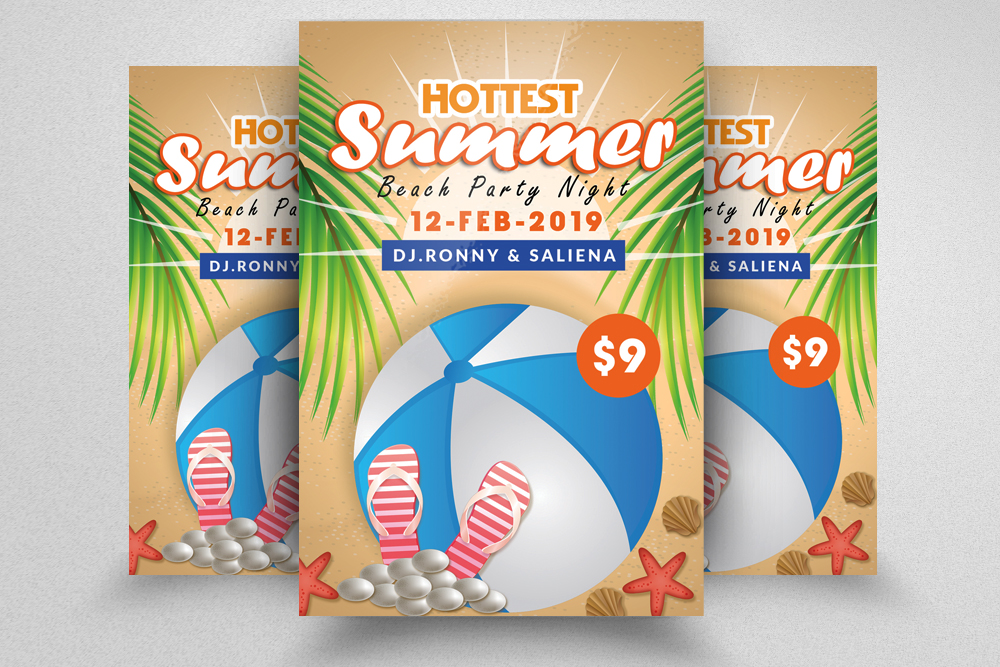 10 Summer Beach Fun Party Flyers Bundle example image 9