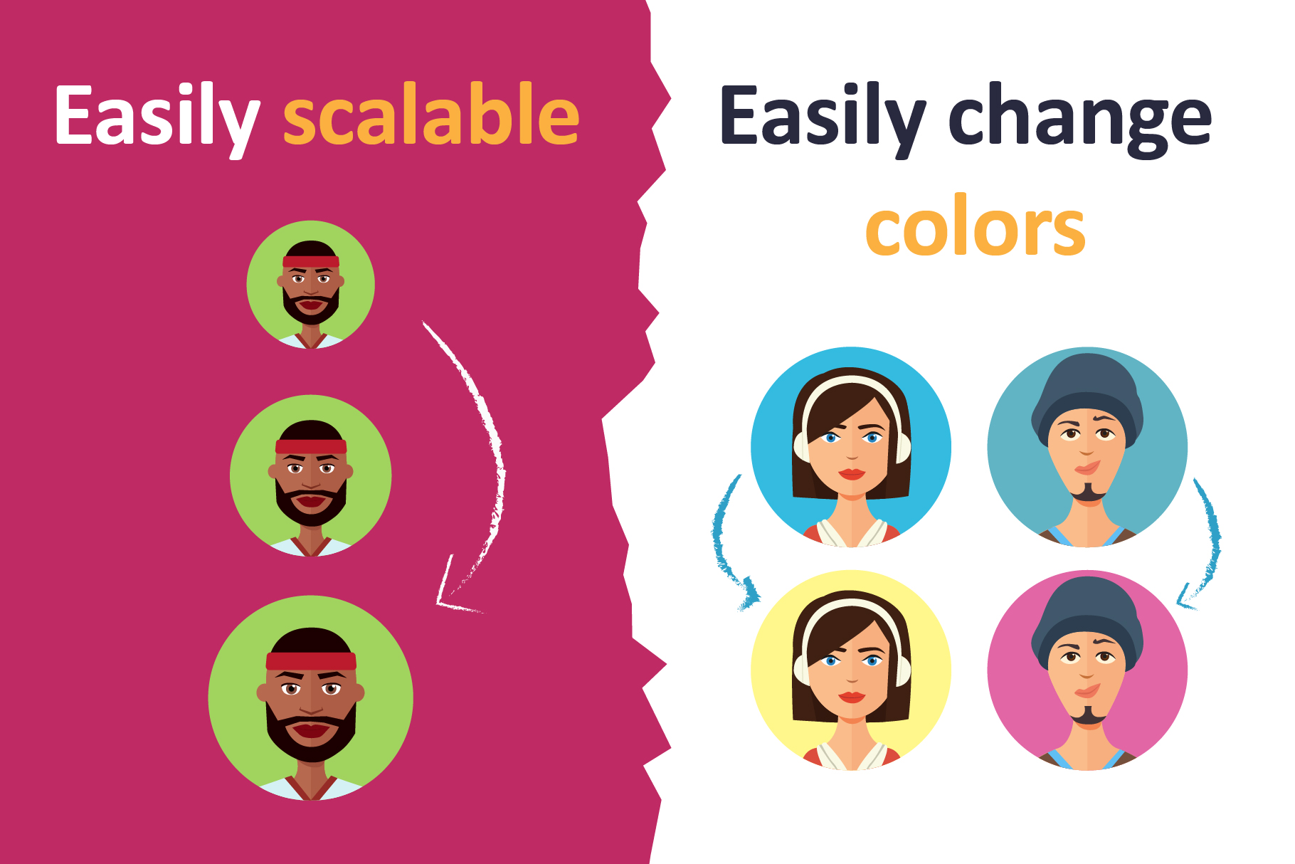 Avatars vector People Collection flat cartoon example image 4