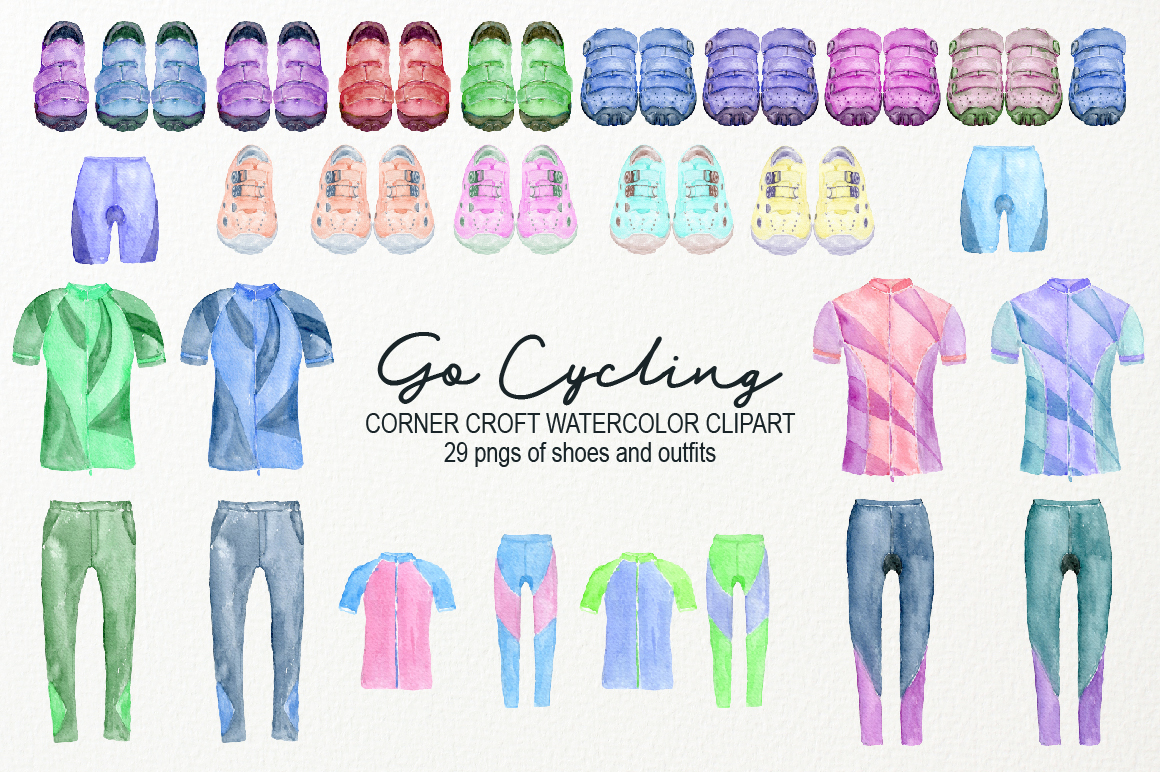 Watercolor Cycling Clipart example image 3