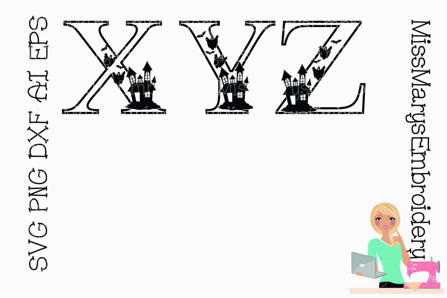 Haunted Halloween Letters SVG Cutting File PNG DXF AI EPS example image 3