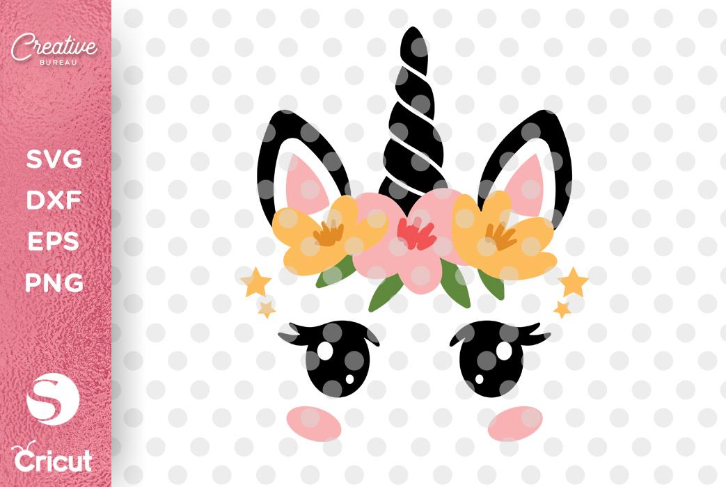Unicorn Face SVG DXF Cut File, Unicorn Eyelashes SVG example image 2