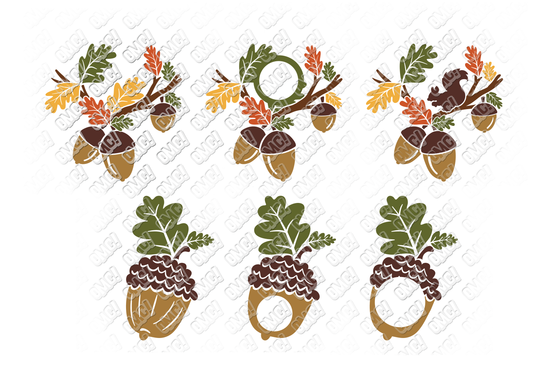 Acorn SVG Oak Tree Leaves in SVG, DXF, PNG, EPS, JPEG example image 4
