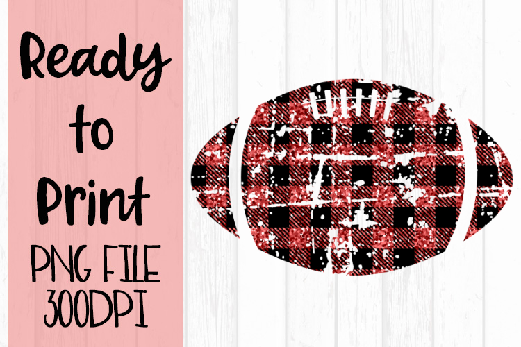 Red Glitter Buffalo Plaid Football Ready to Print example image 1