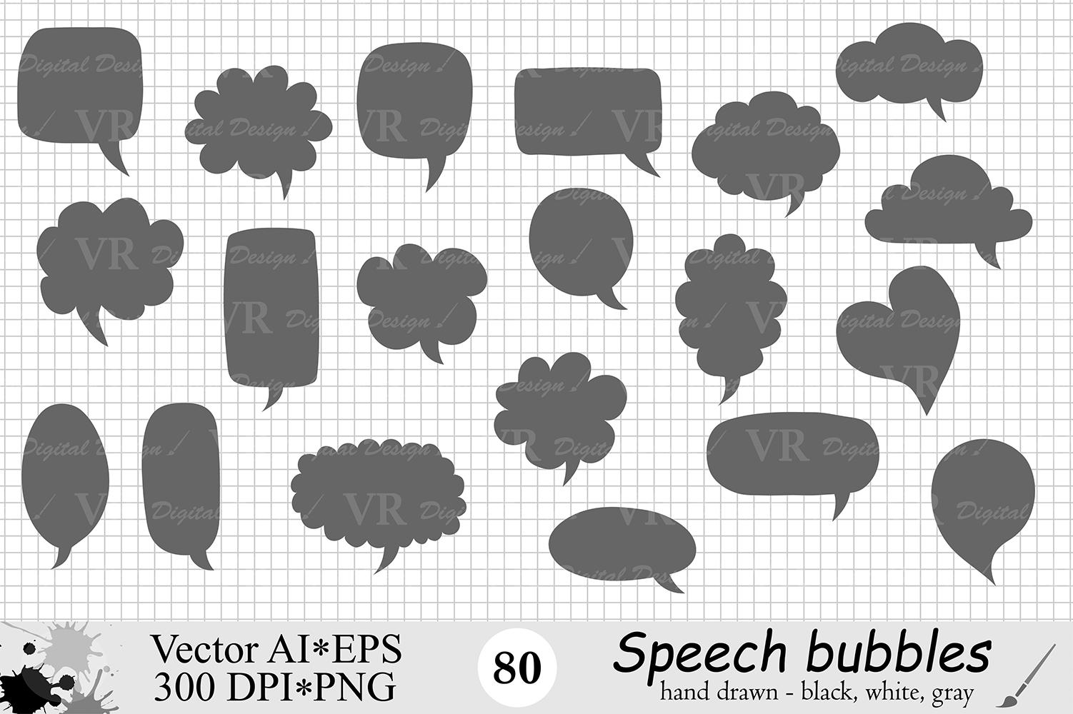 Speech Bubbles Clipart / Chat Bubbles / Hand drawn Text bubbles / Black, White, Gray - Vector example image 3