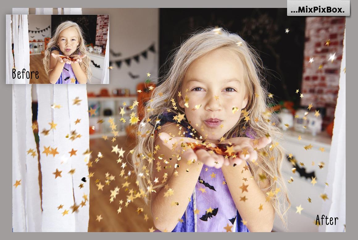 Golden Confetti Photo Overlays example image 2