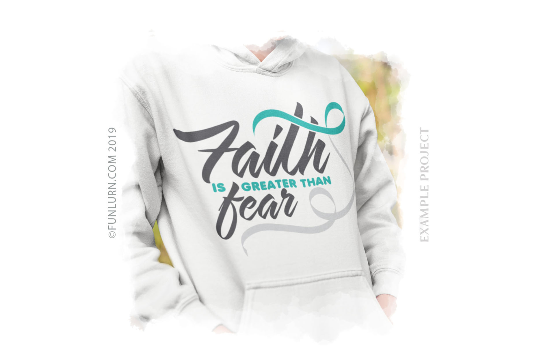 Faith is Greater Than Fear Teal and White Ribbon SVG example image 3