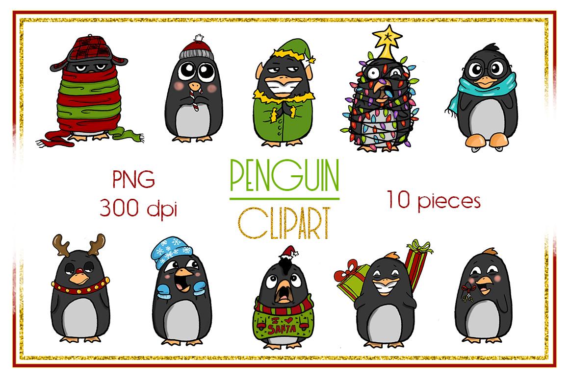 Holiday Clipart-Penguin Clipart-Christmas Clipart-Cartoon-Sticker Clipart-Digital-Penguin-Penguin Art-Digital-Penguin XMAS Drama-Commercial example image 2