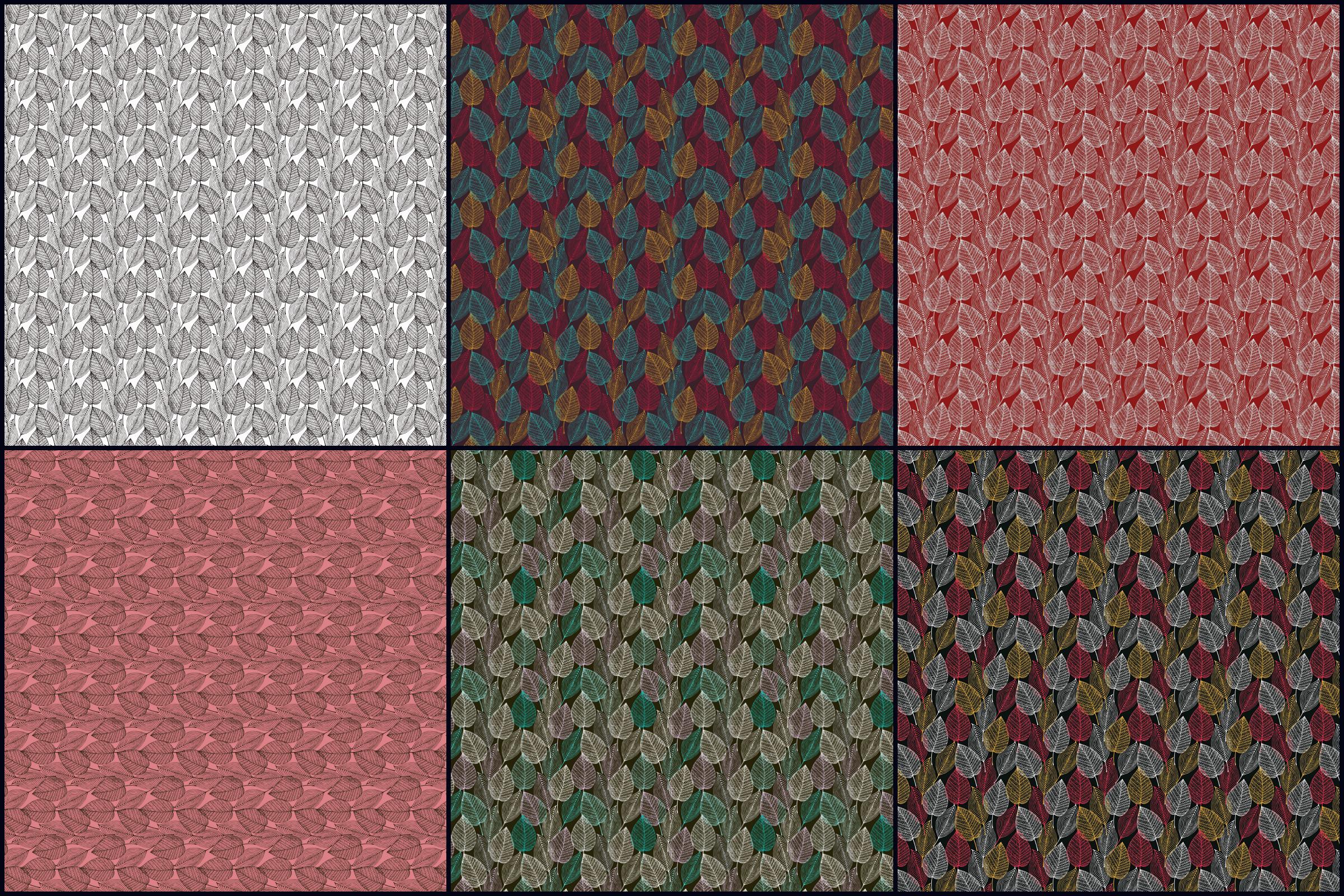Lacy Skeleton Leaf Patterns Digital Paper Pack example image 2