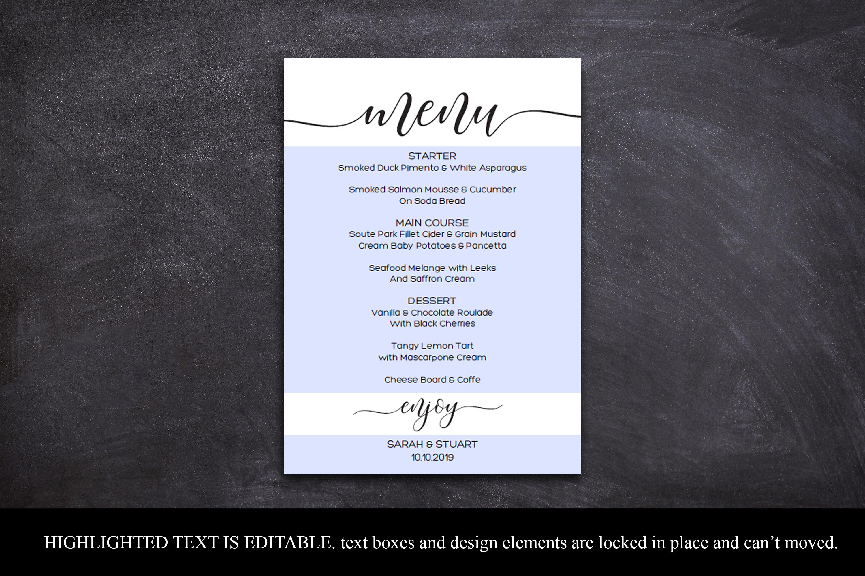 Wedding Menu Card Editable Template Printable Menu Cards example image 4