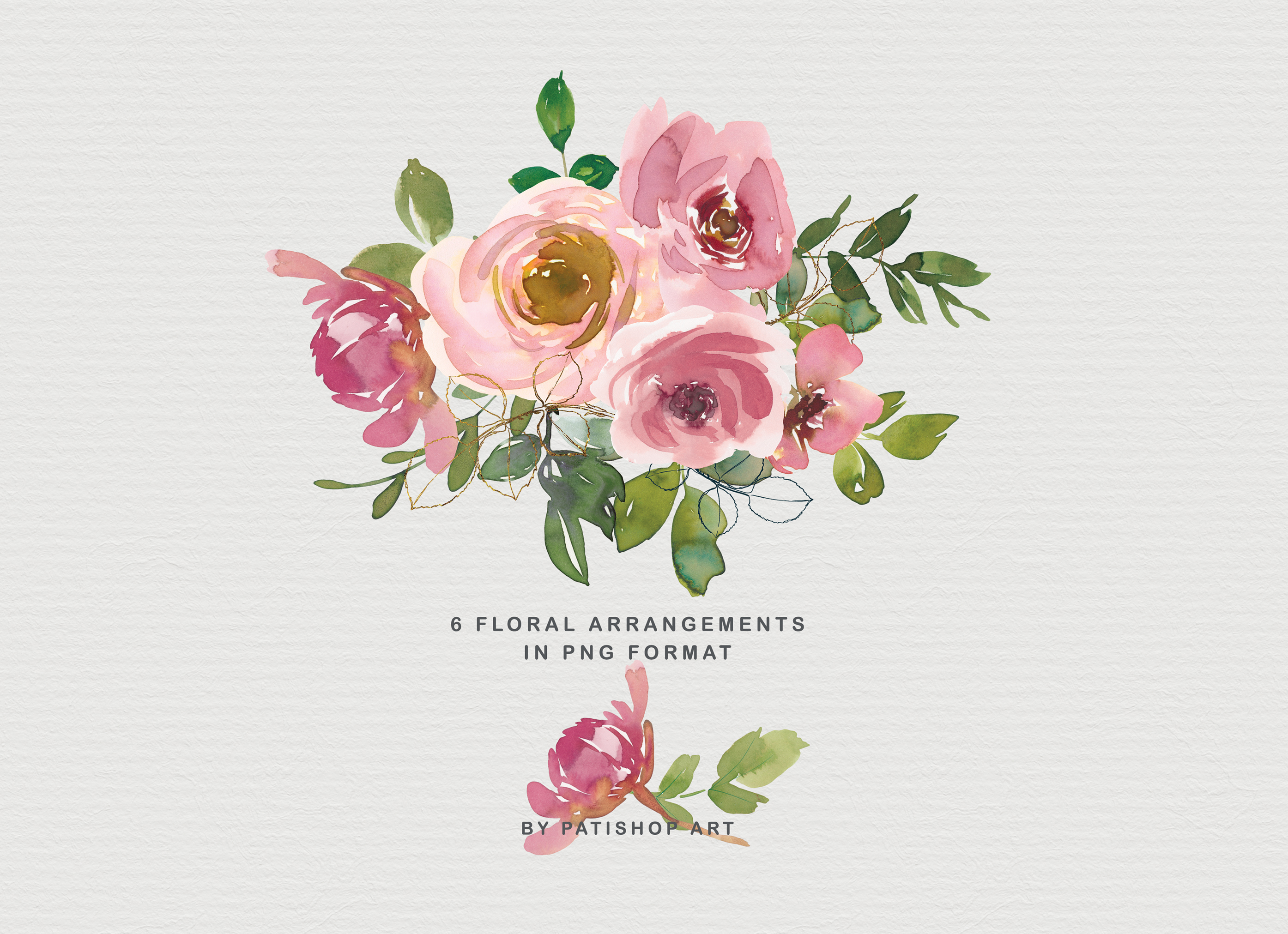 Blush and Peach Watercolor Floral Clipart Collection example image 3