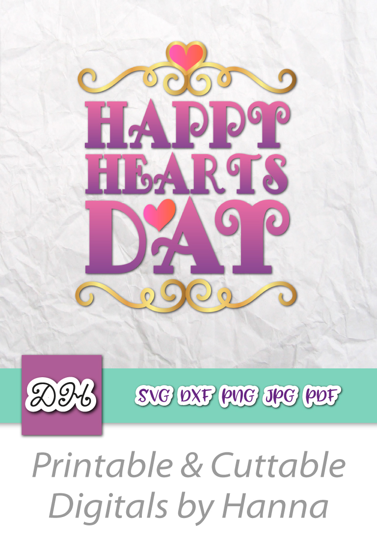 Happy Hearts Day Valentine's Sign Print & Cut File PNG SVG example image 8