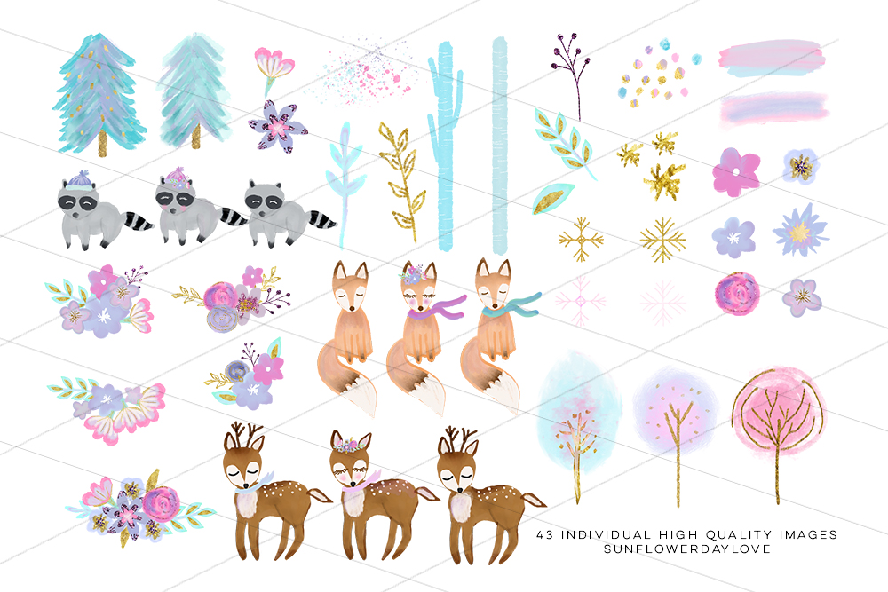 winter woodland clipart, winter forest animal clip art example image 2