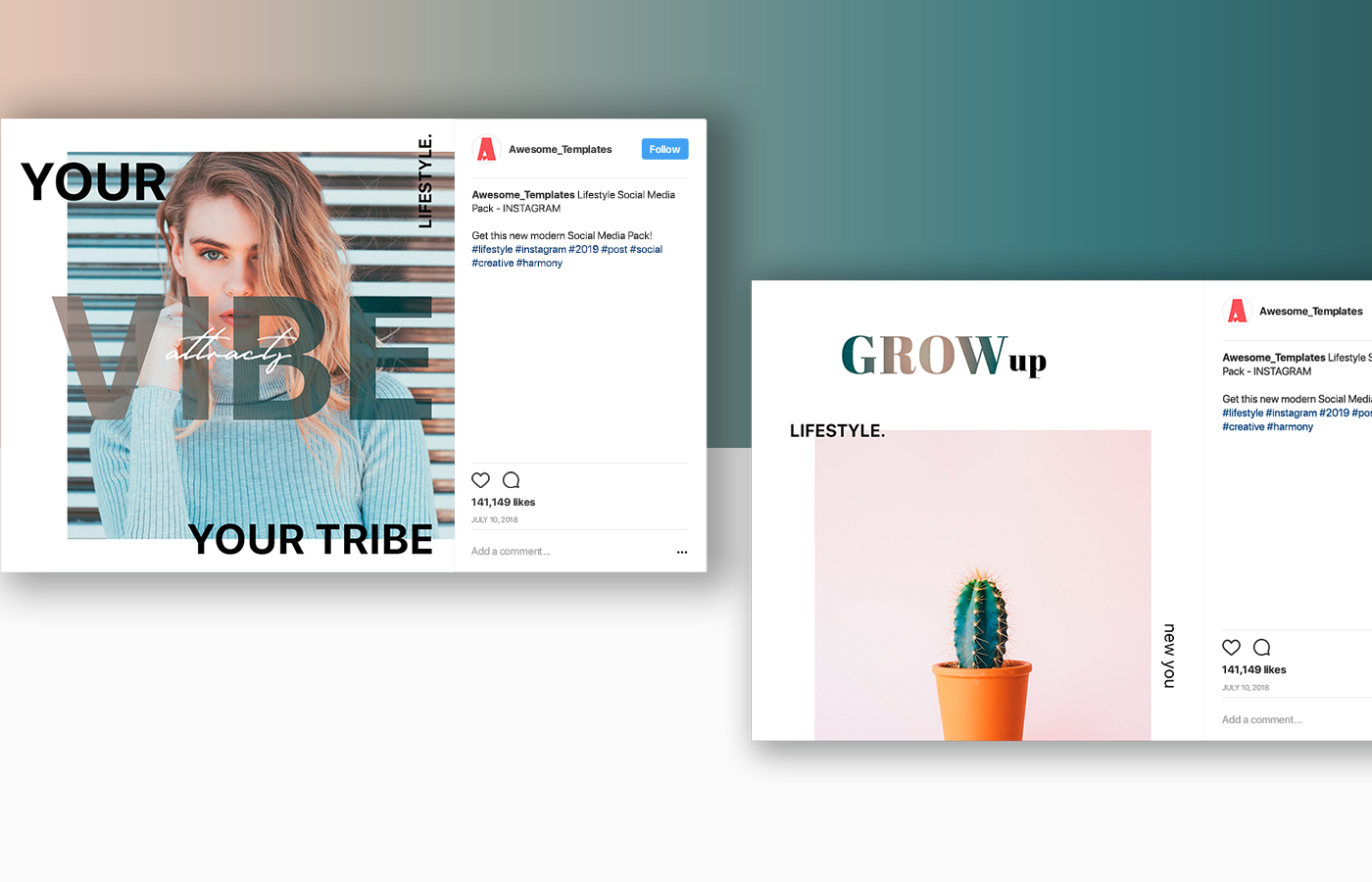 Lifestyle Instagram Template Set example image 6