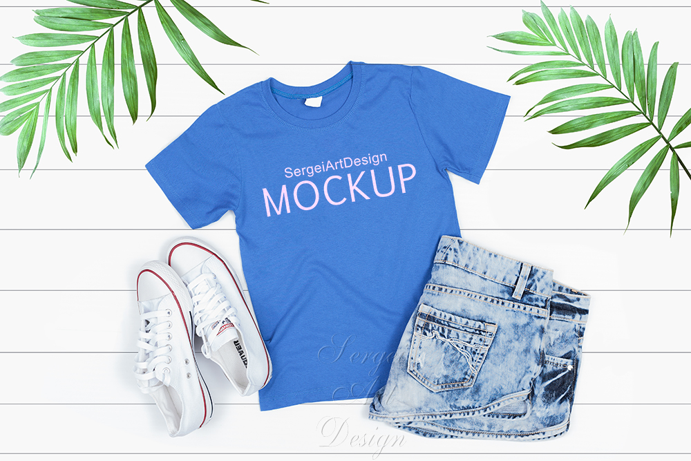 Light Blue Kids T Shirt Mockup Stock Photography