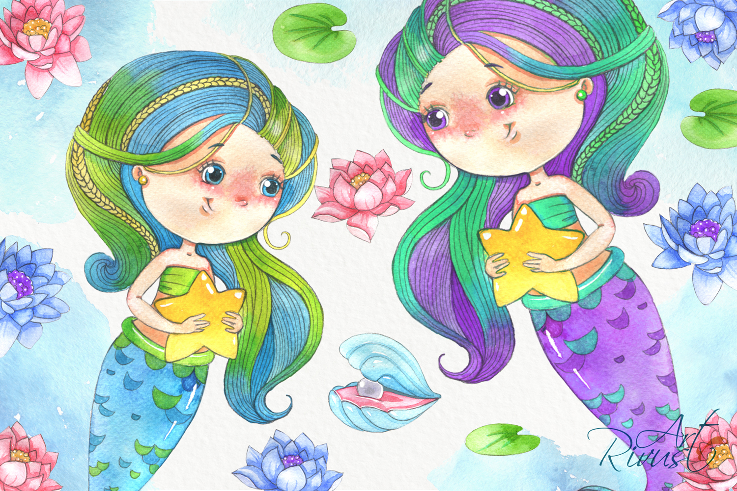 Cute mermaids clipart pack. Watercolor clip art baby shower example image 4
