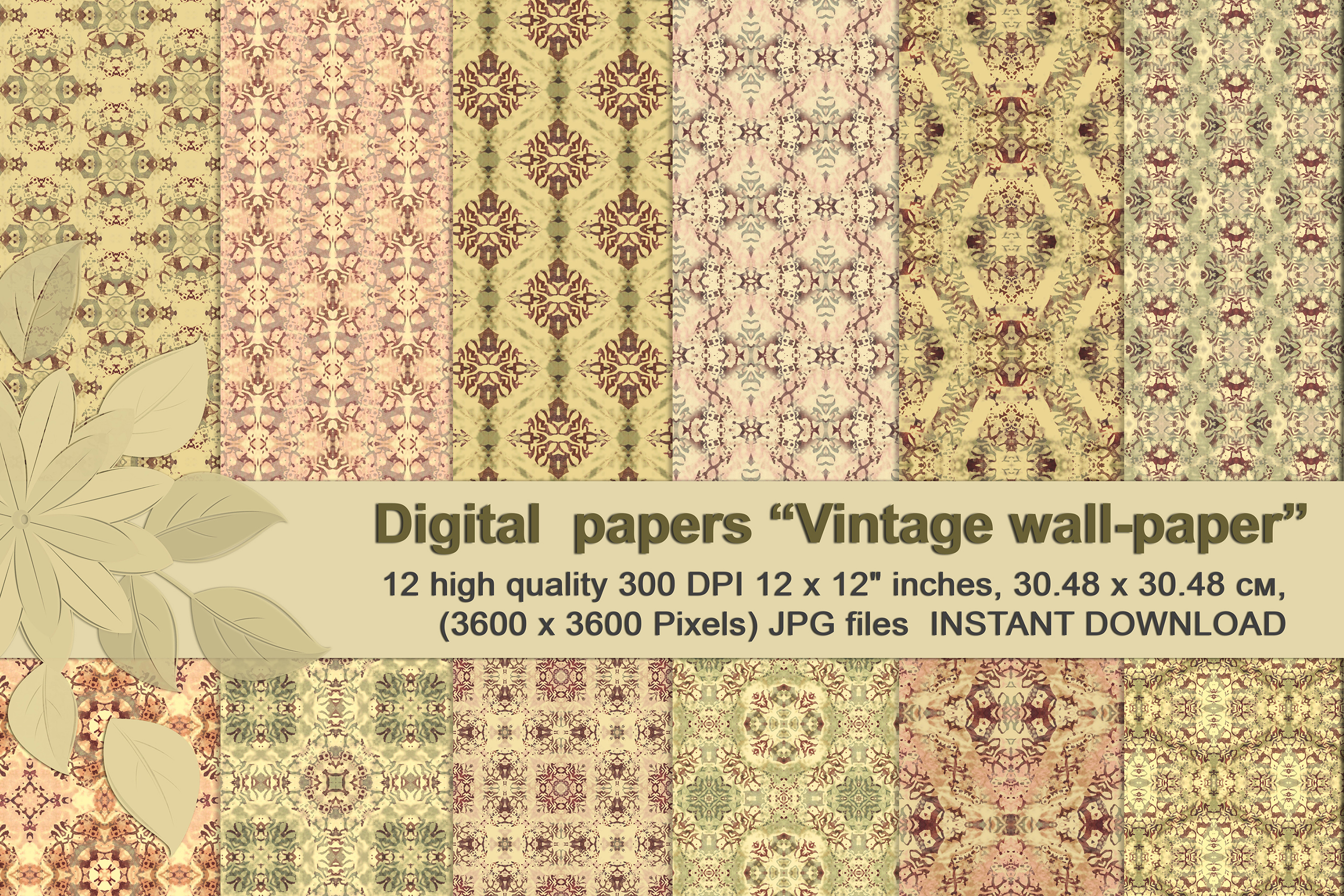Vintage Abstract Patterns, Digital Scrapbook Paper example image 1