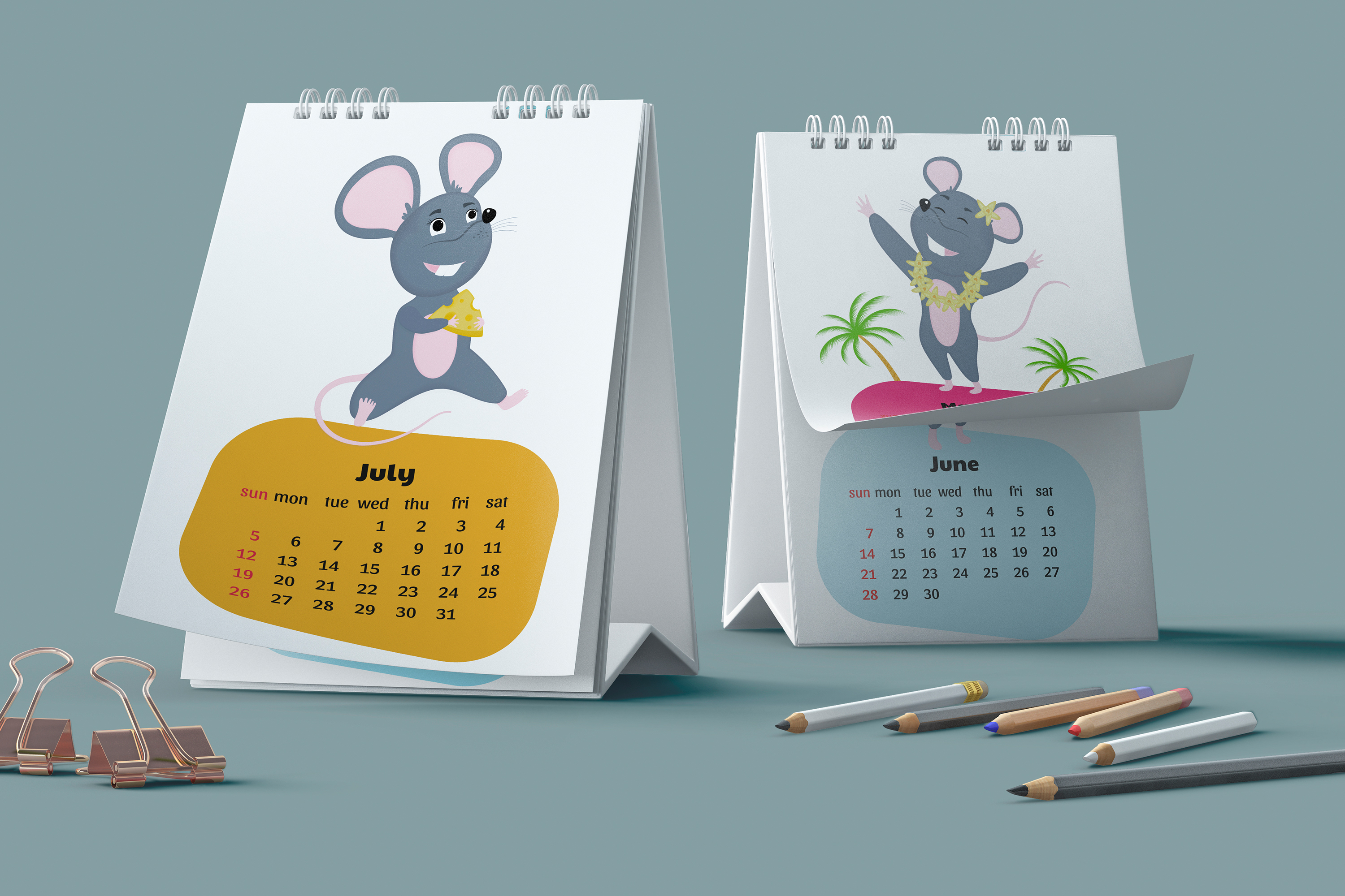 Funny mouse. Cute rats. Wall and desk calendars for 2020 example image 4