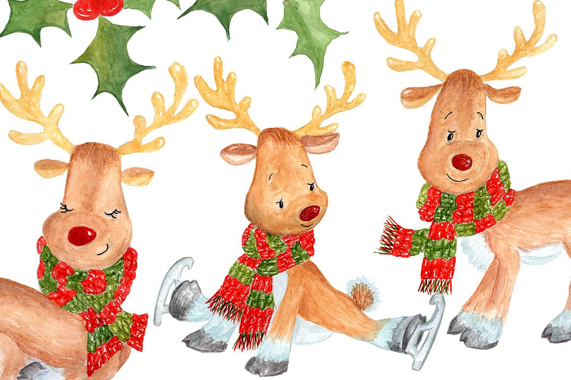 Bundle Watercolor Christmas Kids Clipart example image 12