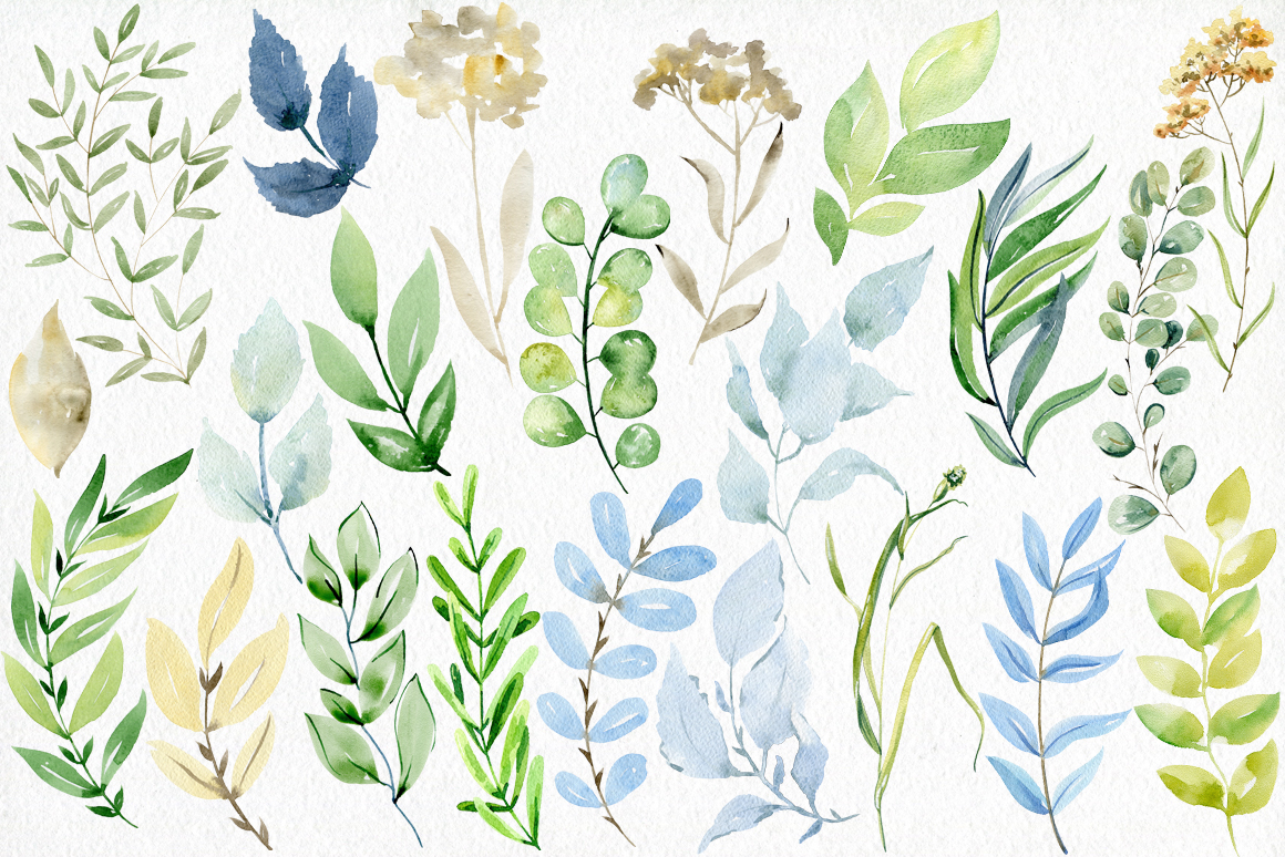 Watercolor leaves clipart. example image 4