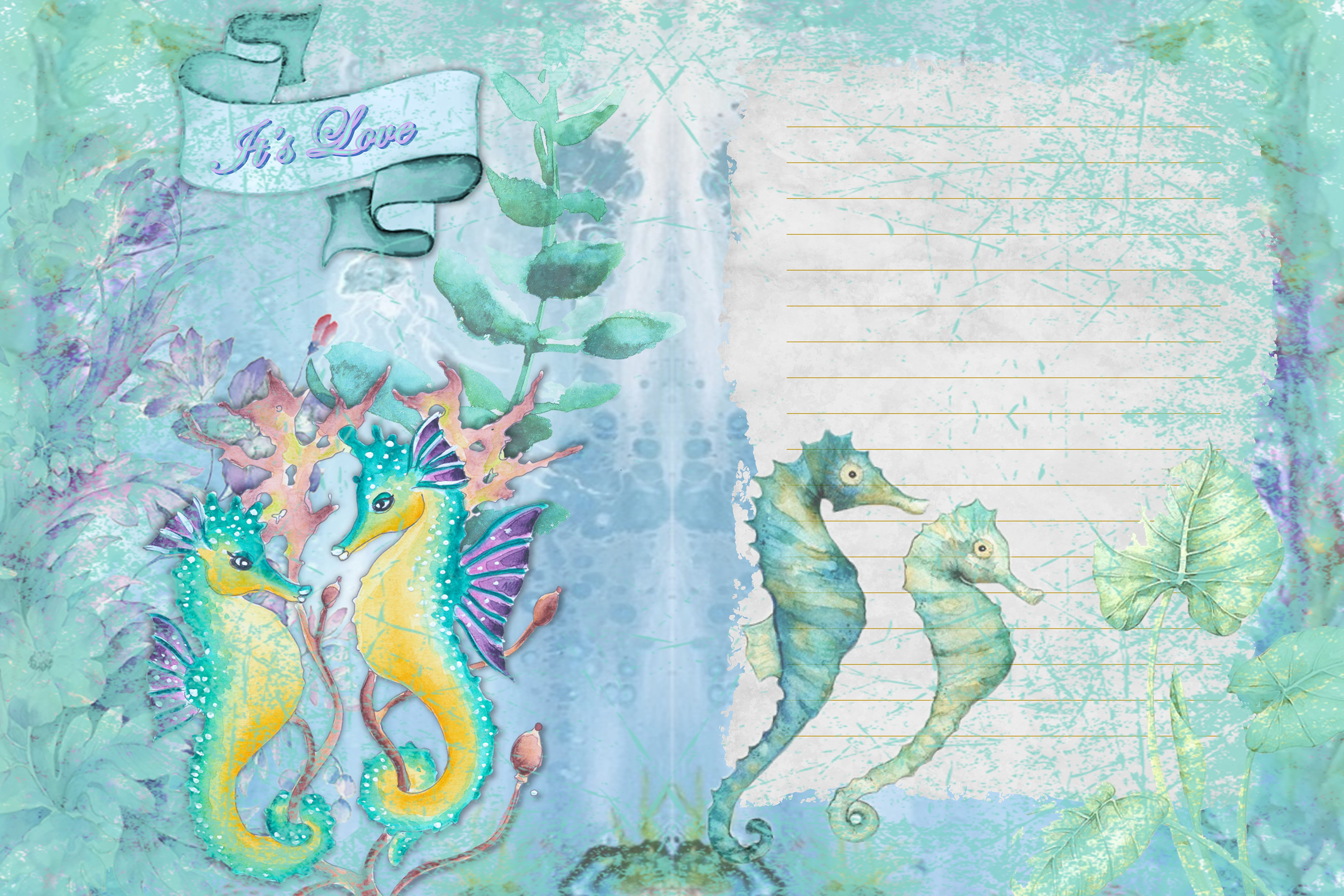 Seahorses Journaling pages FREE Clipart and Ephemera example image 4