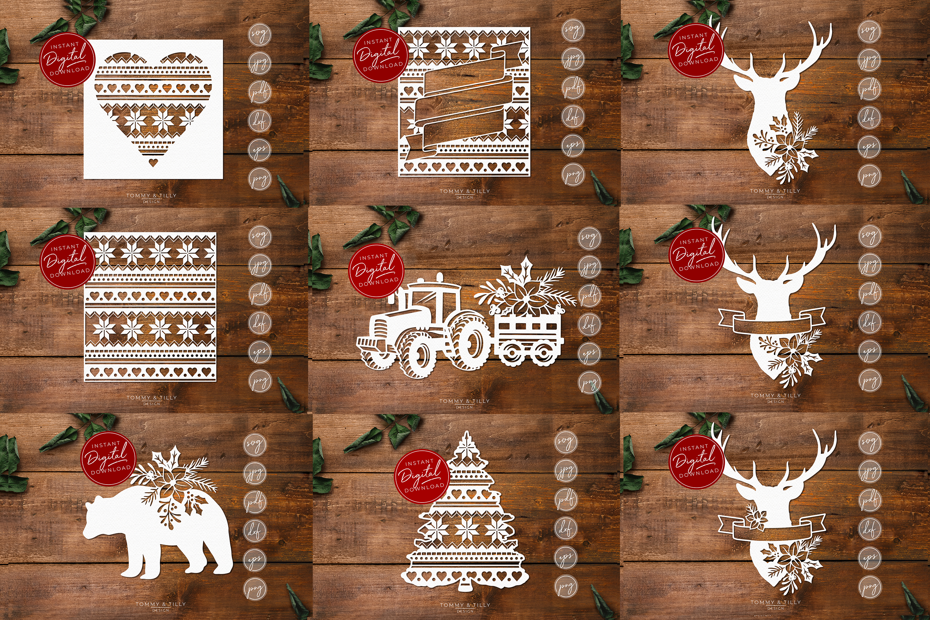 MEGA BUNDLE! 60 Christmas Cut Files - SVG | Papercut example image 5