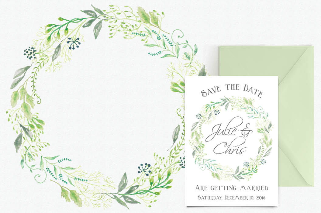Watercolor wreath of delicate foliage example image 2