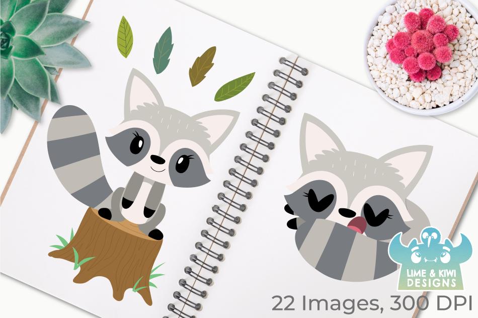 Raccoon Girls Clipart, Instant Download Vector Art example image 3