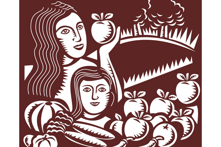 woman and child holding apple fruit vegetable example image 1