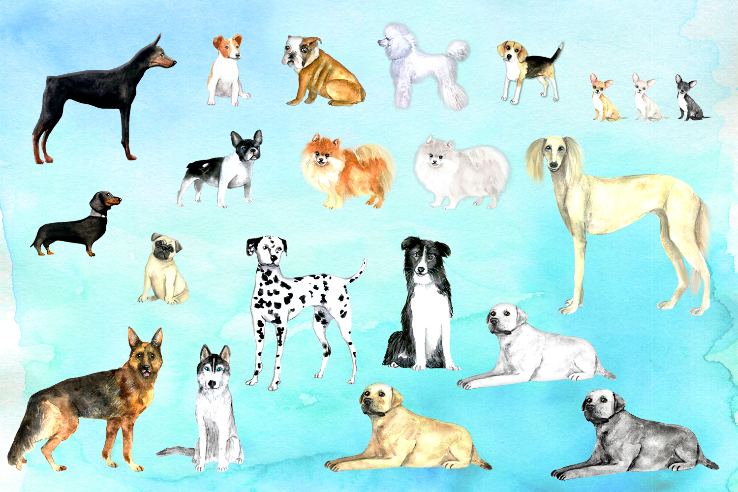 Watercolor dogs - Watercolor pets example image 2