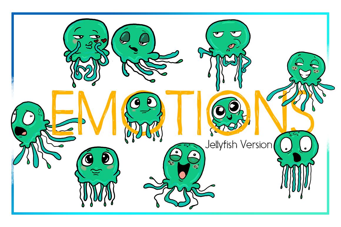 Jellyfish Clipart-Sea Clipart-Nautical Clipart-Cartoon-Sticker Clipart-Digital-Jellyfish-Art-Funny-Digital JellyFish-Sea Creature-Commercial example image 1