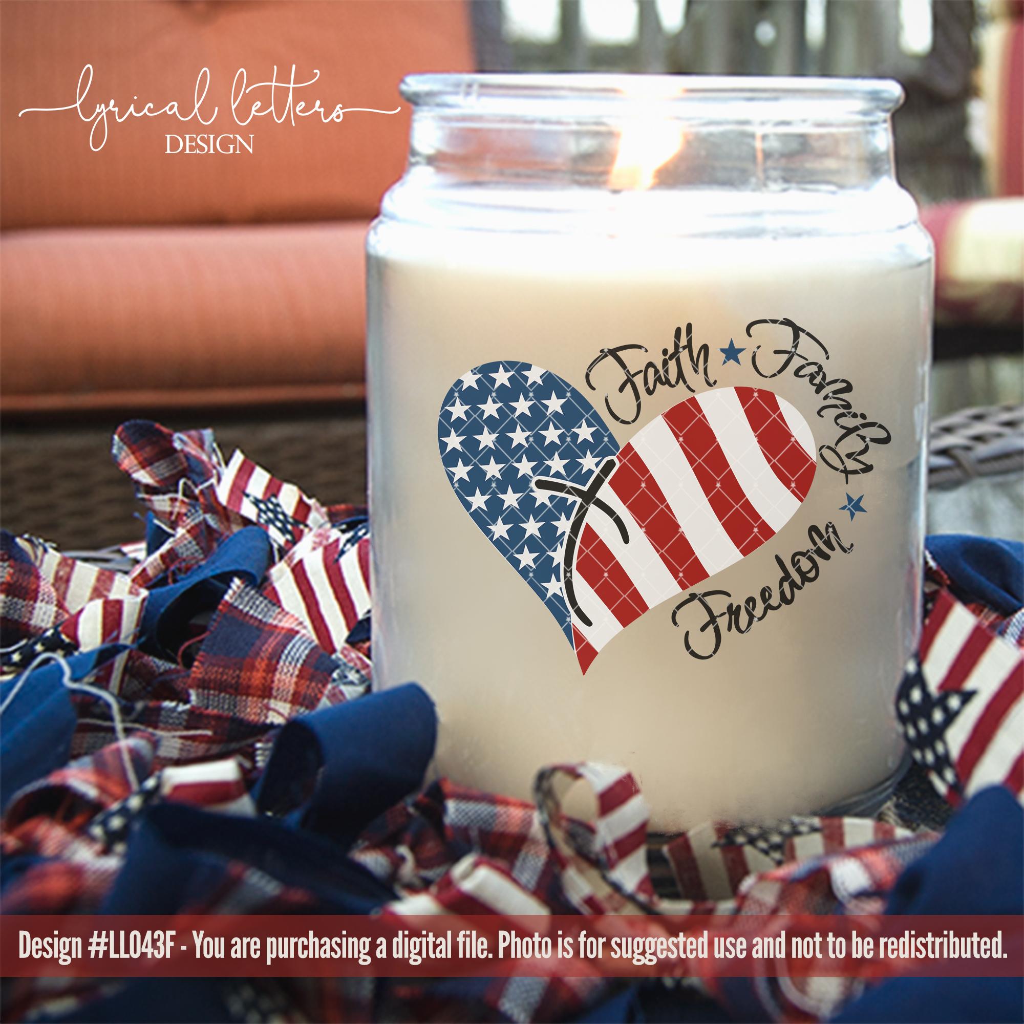 Faith Family Freedom American Patriotic USA Cut File LL043F example image 3