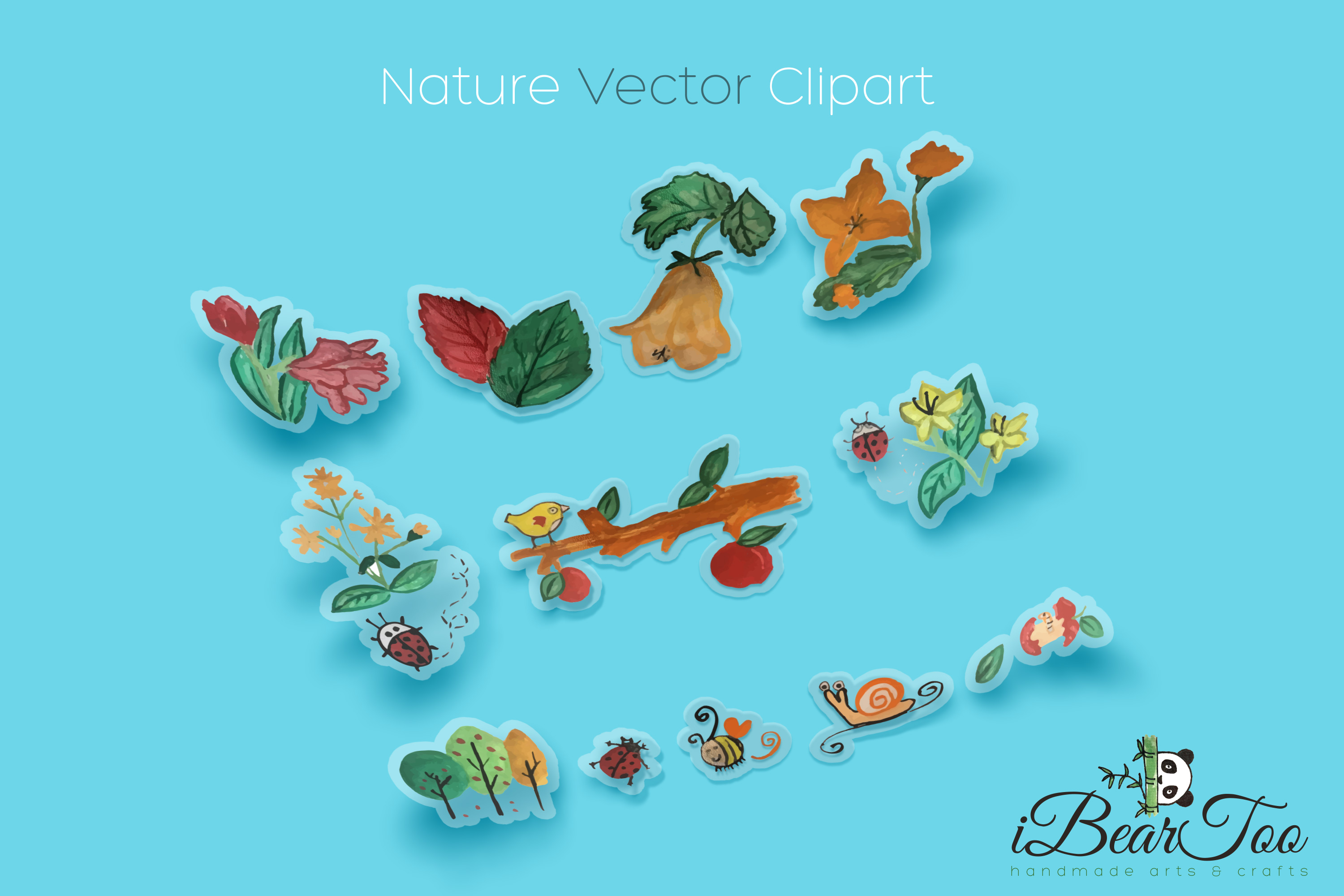Nature SVG Bundle Watercolor Clipart Drawing Vector Cutfiles example image 4