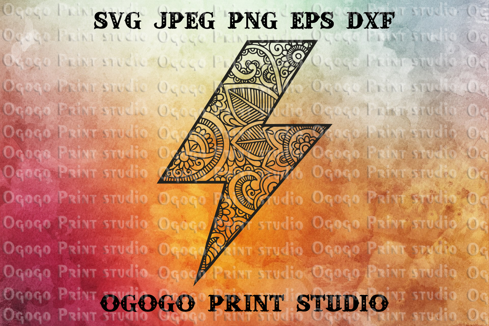 Lightning Bolt Svg, Flash Svg, Zentangle SVG, Mandala svg example image 1